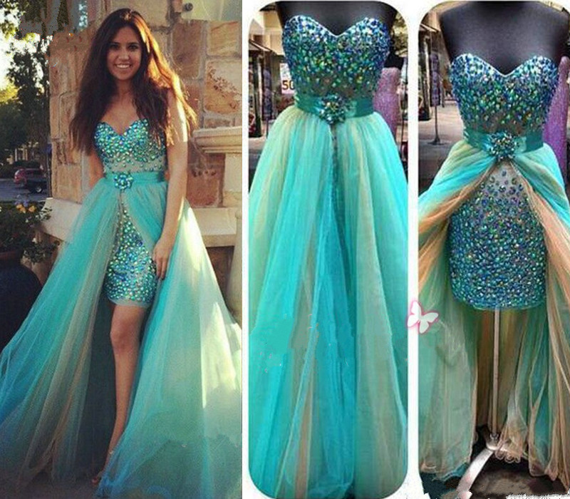 High Low Short Prom Dress Turquoise Blue Prom Dress Two Piece