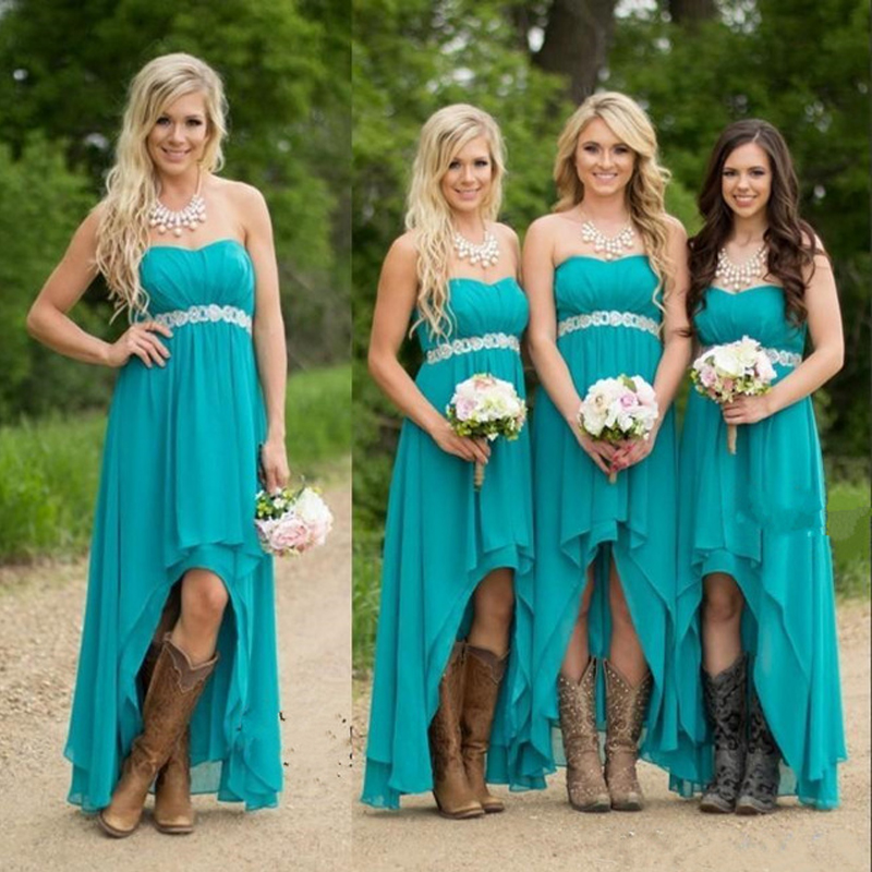Teal Blue Bridesmaid Dresses, High Low Bridesmaid Dress, Short ...